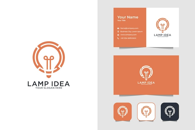 Design de logotipo e cartão de visita de ideia de lâmpada moderna