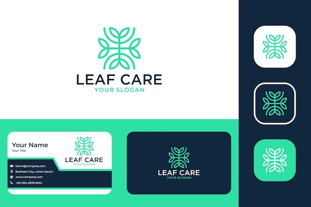 Design de logotipo e cartão de visita de linha de cuidado de folha verde
