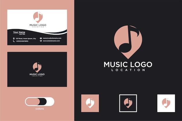 Design de logotipo e cartão de visita de localização de música