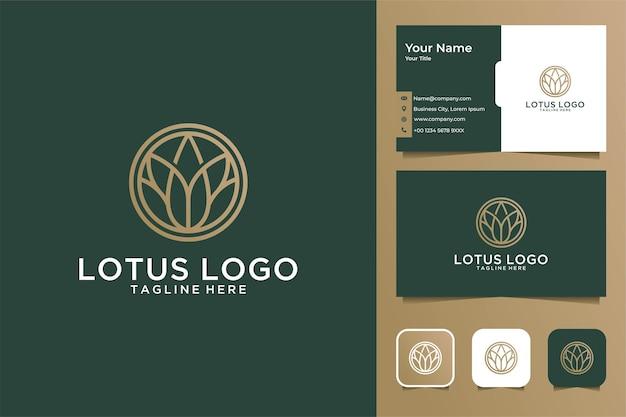 Design de logotipo e cartão de visita de luxo em estilo de arte de linha de lótus