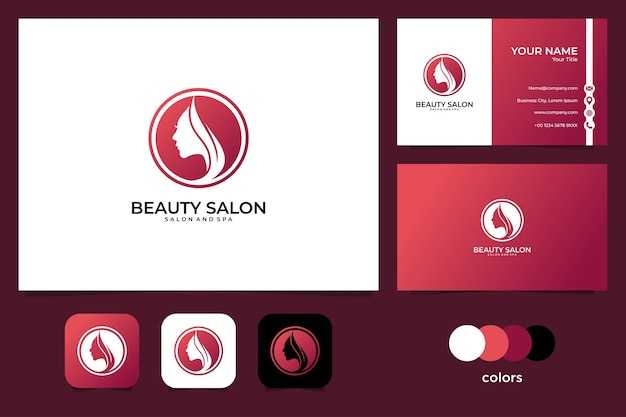 Design de logotipo e cartão de visita de mulheres de beleza, bom uso para moda, salão de beleza, logotipo de spa