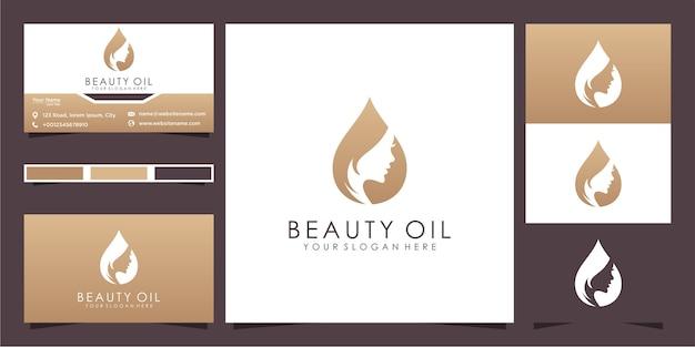Design de logotipo e cartão de visita de mulheres de beleza