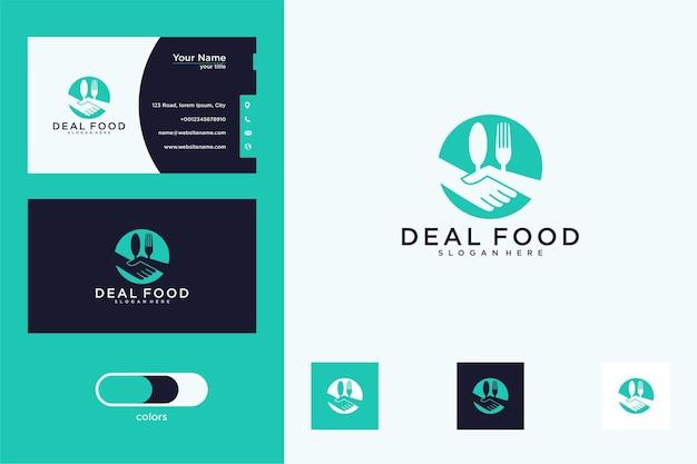 Design de logotipo e cartão de visita de oferta de alimentos