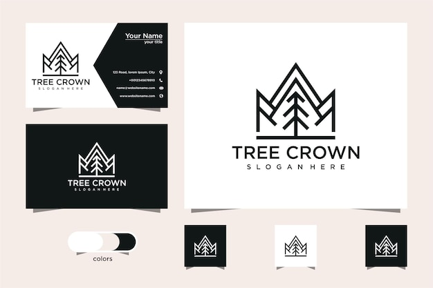 Design de logotipo e cartão de visita de pinheiro e coroa