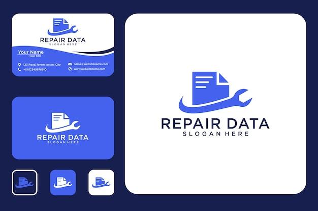 Design de logotipo e cartão de visita de reparo de dados
