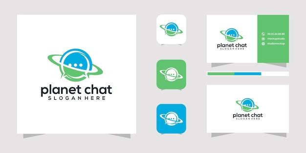 Design de logotipo e cartão de visita do chat do planeta