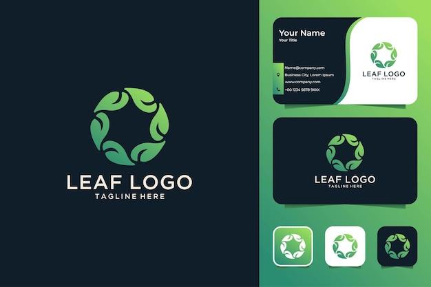 Design de logotipo e cartão de visita do círculo de geometria de folha verde