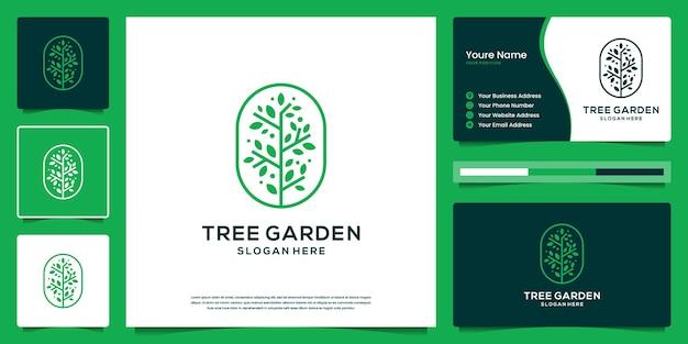Design de logotipo e cartão de visita do conceito de contorno de árvore verde da vida. símbolo elegante da natureza.