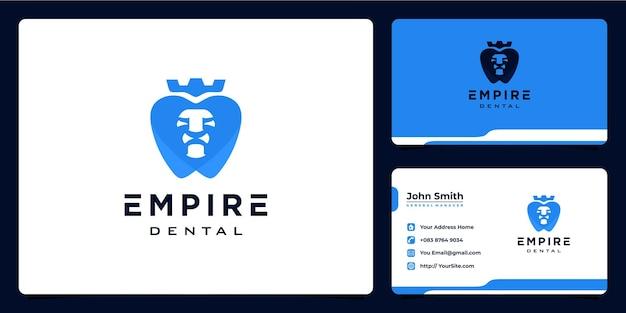Design de logotipo e cartão de visita do empire dental lion