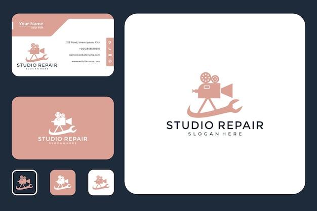 Design de logotipo e cartão de visita do estúdio de reparos