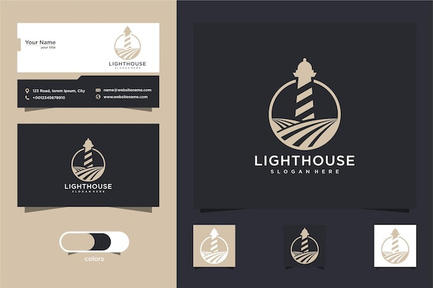 Design de logotipo e cartão de visita do farol