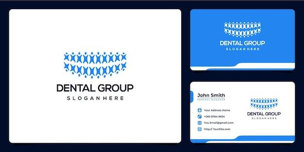 Design de logotipo e cartão de visita do grupo odontológico