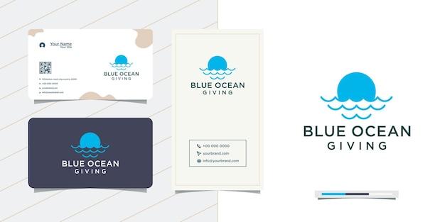 Design de logotipo e cartão de visita do logotipo da ocean wave