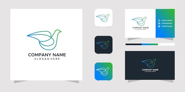 Design de logotipo e cartão de visita do pássaro pomba.