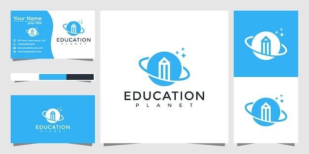 Design de logotipo e cartão de visita do planeta educação