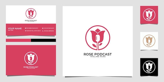 Design de logotipo e cartão de visita do podcast rosa