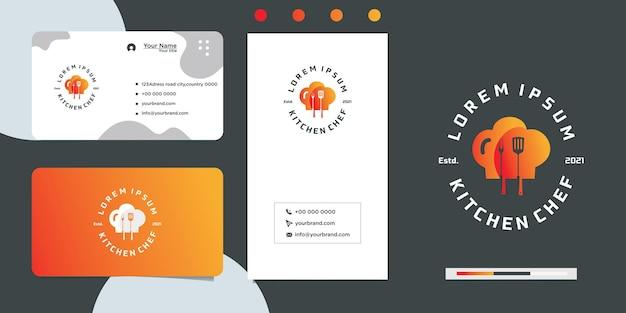 Design de logotipo e cartão de visita do restaurant love cooking