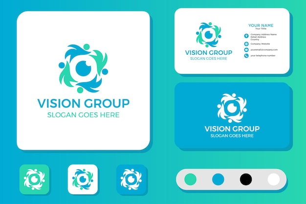 Design de logotipo e cartão de visita do vision group