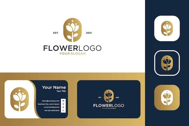 Design de logotipo e cartão de visita elegante com uma flor rosa