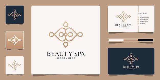 Design de logotipo e cartão de visita elegante minimalista do spa da beleza.