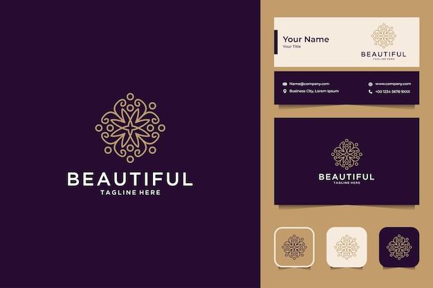 Design de logotipo e cartão de visita elegantes e bonitos com arte em linha de flores
