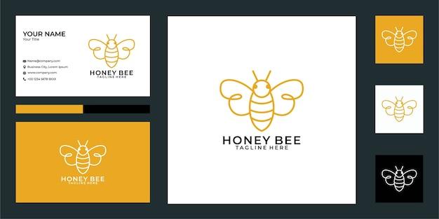 Design de logotipo e cartão de visita estilo abelha da linha arte