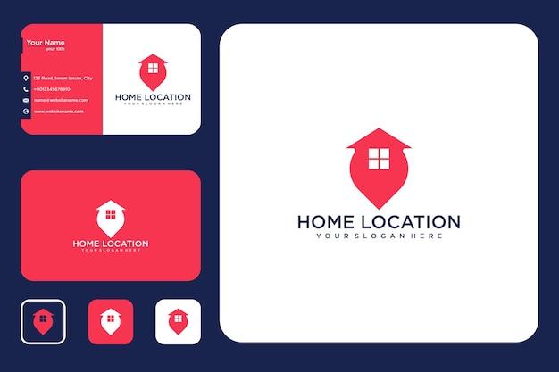 Design de logotipo e cartão de visita moderno de localização de casa
