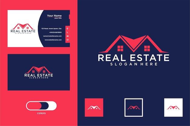 Design de logotipo e cartão de visita modernos de imóveis