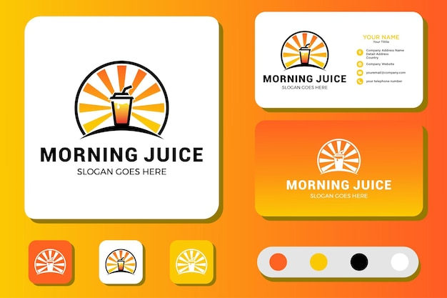 Design de logotipo e cartão de visita morning juice