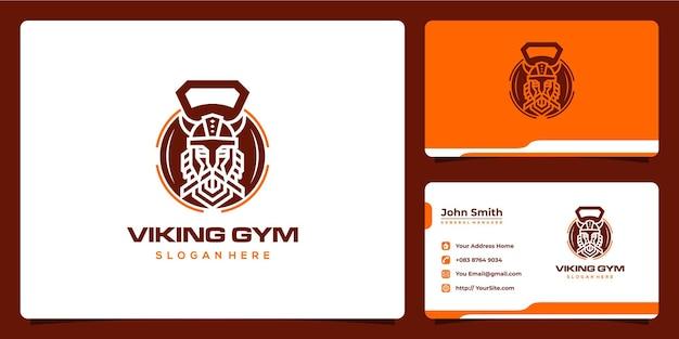 Design de logotipo e cartão de visita saudável da academia viking