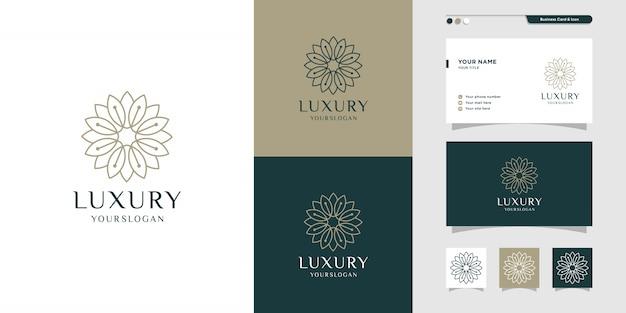 Design de logotipo e cartão floral de luxo. beleza, moda, salão, ícone