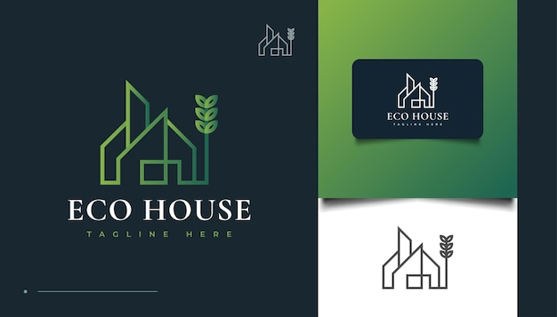 Design de logotipo eco house com estilo de linha