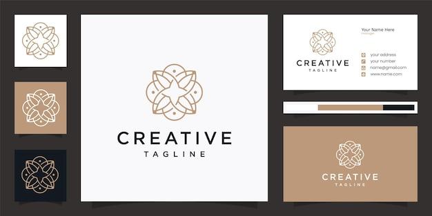 Design de logotipo elegante da comunidade de flores com cartão de visita