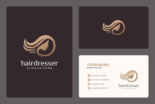 Design de logotipo elegante de cabeleireiro com cartão de visita