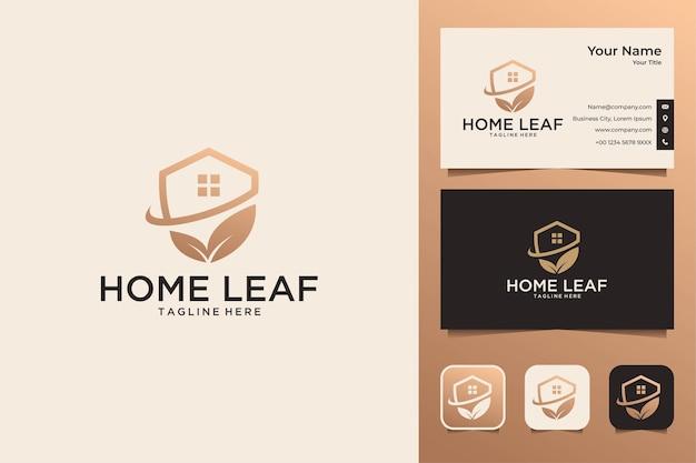 Design de logotipo elegante folha para casa e cartão de visita