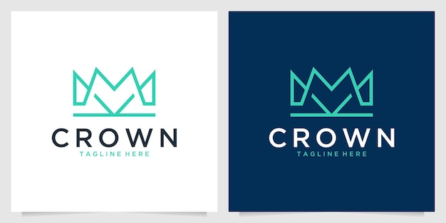 Design de logotipo elegante linha arte da coroa