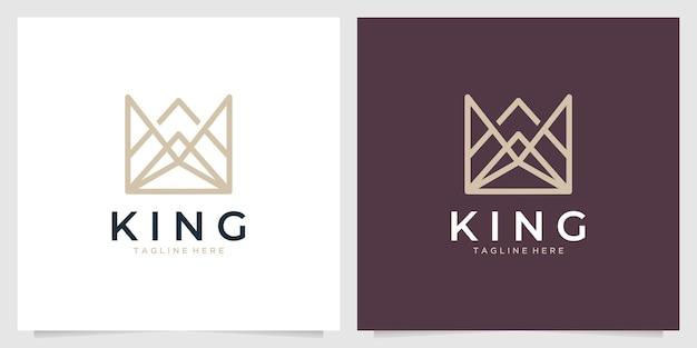 Design de logotipo elegante linha de arte da coroa