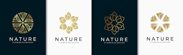 Design de logotipo elegante rosa e flor elegante folha para beleza,