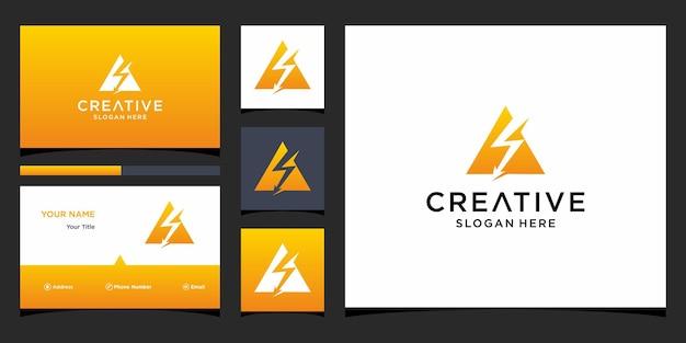 Design de logotipo elétrico com modelo de cartão de visita
