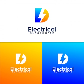Design de logotipo elétrico letra d