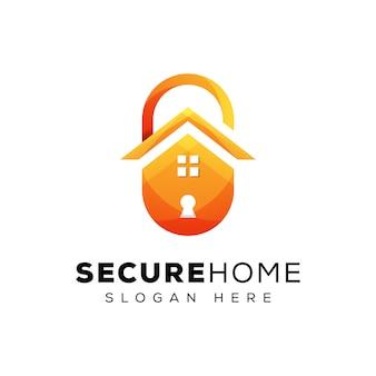 Design de logotipo em casa de segurança, logotipo em casa do escudo, design de logotipo de casa segura