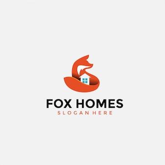 Design de logotipo em casa fox espaço negativo