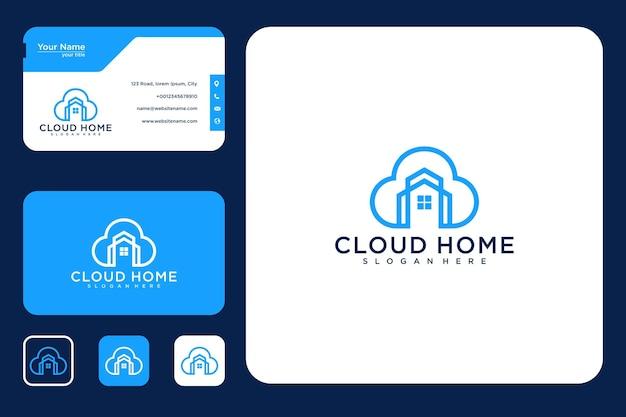 Design de logotipo em casa na nuvem e cartão de visita