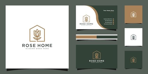 Design de logotipo em casa rosa. bom para cartão de visita Vetor Premium