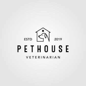 Design de logotipo em casa vintage linha arte pet house