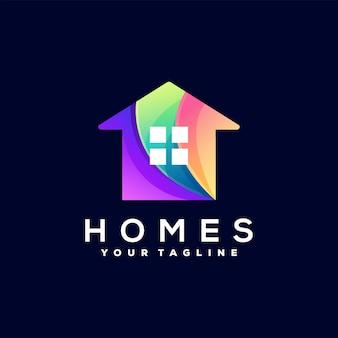 Design de logotipo em cor gradiente de casa