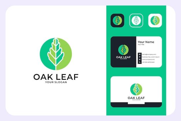 Design de logotipo em folha de carvalho verde e cartão de visita
