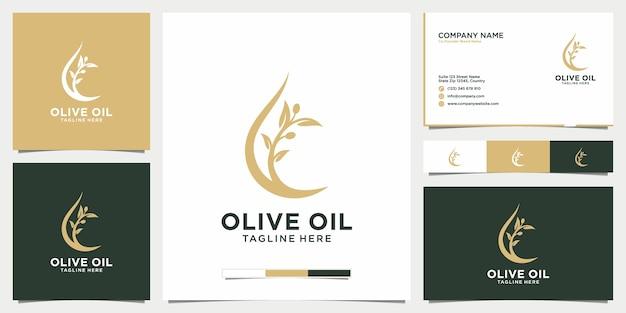 Design de logotipo em folha de oliva e azeite e cartões de visita