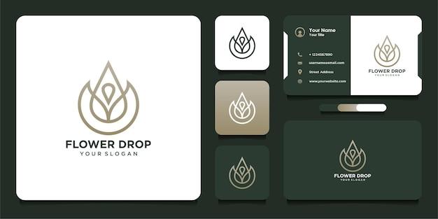 Design de logotipo em forma de gota de flor com estilo de arte de linha e cartão de visita