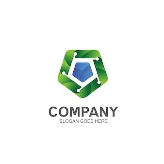 Design de logotipo em forma pentagonal